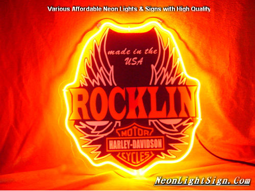 Rocklin Harley Davidson Motor Cycle Neon Light Sign