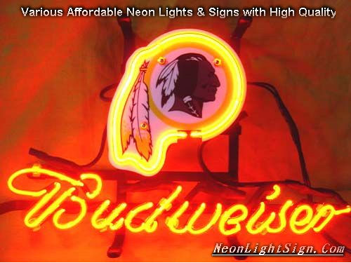 NFL Washington Redskins Budweiser Beer Bar Neon Light Sign