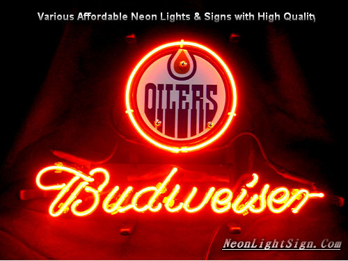 NHL Edmonton Oilers Budweiser Beer Bar Neon Light