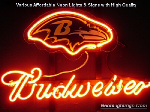 NFL Baltimore Ravens Budweiser Beer Bar Neon Light Sign