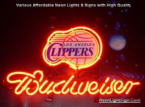 d0e53ba45d NBA L.A. Los Angeles Clippers Budweiser Beer Bar Neon Light Sign