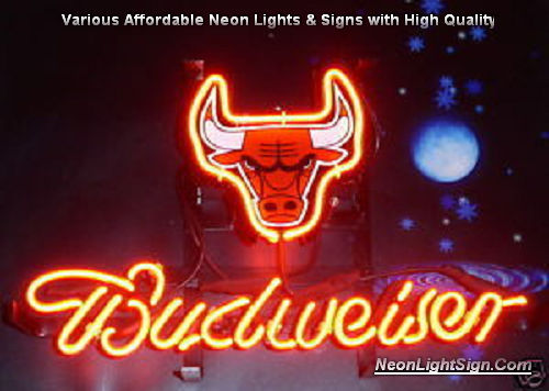 NBA Chicago Bulls Budweiser Beer Bar Neon Light Sign