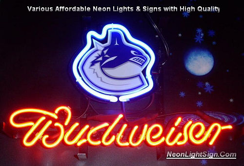NHL VANCOUVER CANUCKS HOCKEY Budweiser Beer Bar Neon Light Sign