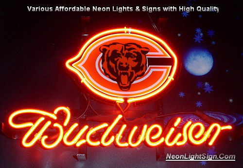 NFL Chicago Bears Budweiser Beer Neon Light Sign - NFL