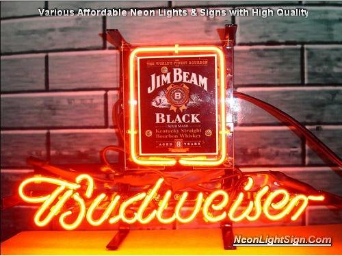 Jim Beam Logo Budweiser Beer Bar Neon Light Sign