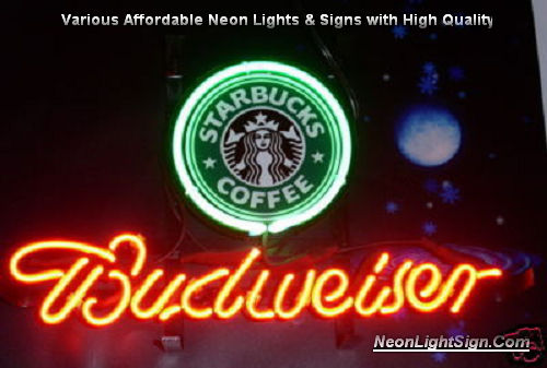 Starbucks Coffee Cafe Logo Budweiser Beer Bar Neon Light Sign