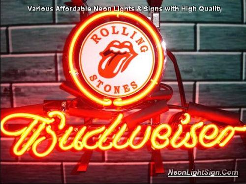 Rolling Stones Logo Budweiser Beer Bar Neon Light Sign