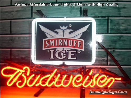 Smirnoff Ice Vodka Logo Budweiser Beer Bar Neon Light Sign