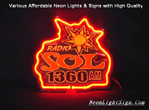 RADIO SOL 1360AM 3D Beer Bar Neon Light Sign