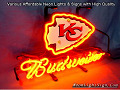 NFL Kansas City Chiefs KC Budweiser Beer Bar Neon Light Sign