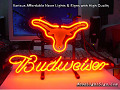 NCAA Texas longhorns Budweiser Beer Bar Neon Light Sign