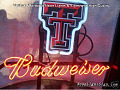 NCAA Texas Tech Budweiser Beer Bar Neon Light Sign