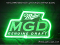 Miller Genuine Draft MGD Beer Bar Neon Light Sign
