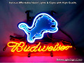 NFL Detroit Lions Budweiser Beer Bar Neon Light Sign