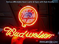 MLB New York Yankees Budweiser Beer Bar Neon Light Sign
