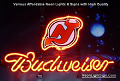 NHL Jersey Devils Budweiser Beer Bar Neon Light Sign
