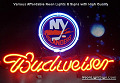 NHL NEW YORK ISLANDERS Budweiser Beer Bar Neon Light Sign