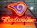 NFL ST LOUIS RAMS Budweiser Beer Bar Neon Light Sign